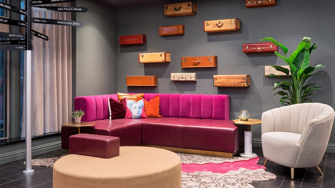 View of colorful lounge at TRYP hotel property