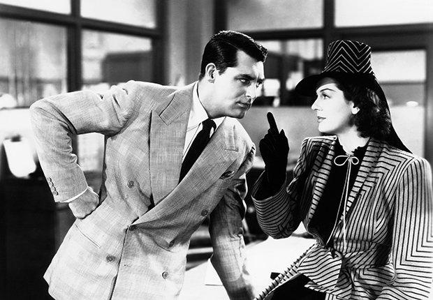 Escena de la película His Girl Friday (1940), con Cary Grant y Rosalind Russell