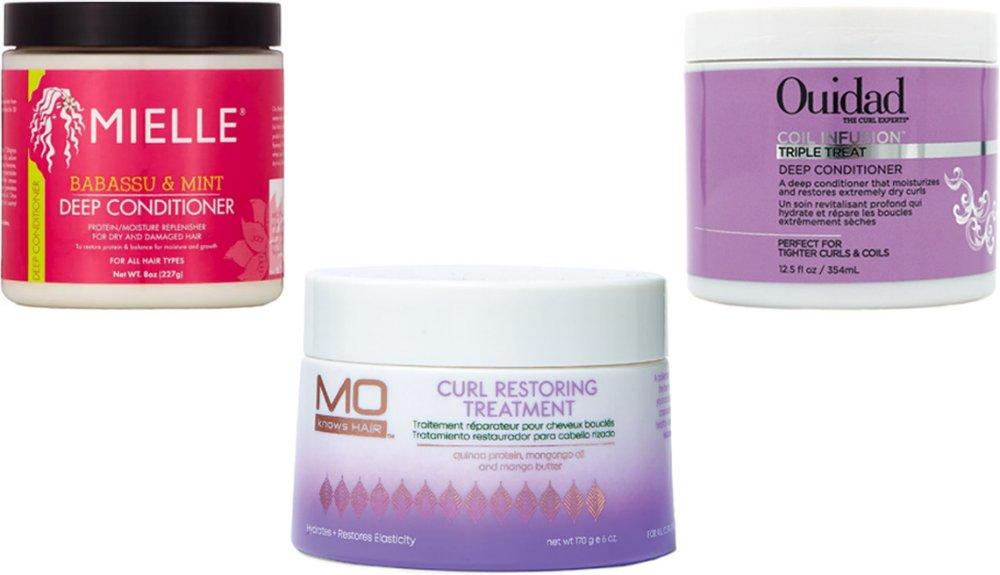 Mielle Organics Babassu & Mint Deep Conditioner; Ouidad Coil Infusion Deep Conditioner; MoKnowsHair Curl Restoring Treatment