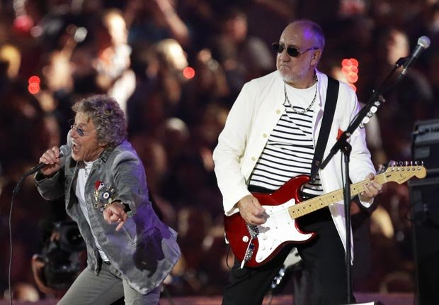 The Who's singer Roger Daltrey, left, and Pete Townshend perform during the Closing Ceremony at the 2012 Summer Olympics in London - Pete Townshend Retrospective