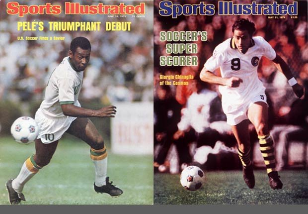 Portadas de la revista Sports Illustrated con Pelé y Chinaglia.