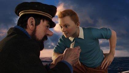 De izquierda a derecha: el capitán Haddock (Andy Serkis) y Tintín (Jamie Bell), en Las Aventuras de Tintín