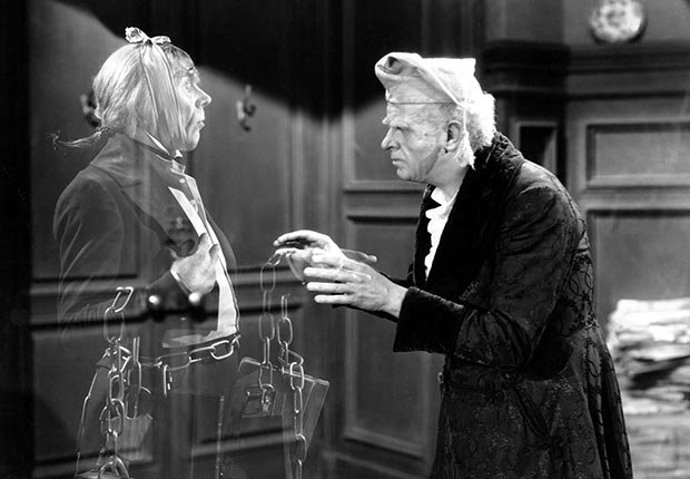 Reginald Owen as Scrooge in A Christmas Carol, 1938.