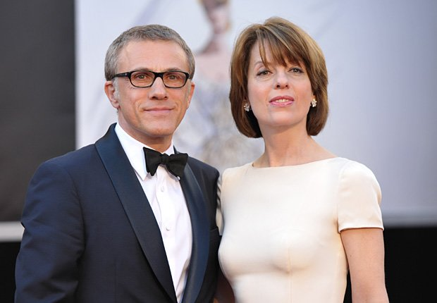 Actor Christoph Waltz, left, and wife Judith Holste arrives at the 85th Academy Awards