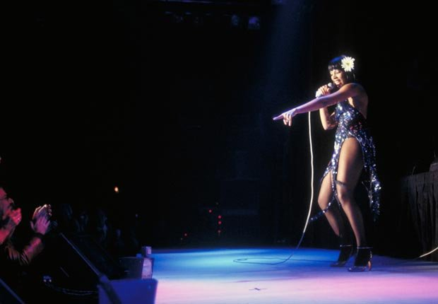 American singer Donna Summer (1948-2012) performs live on stage in the United States circa 1979.