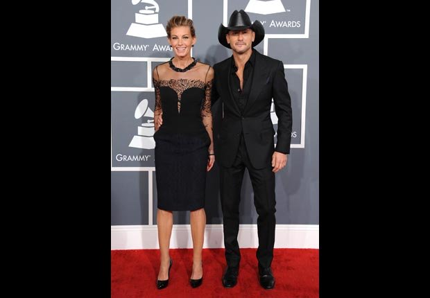 Faith Hill and Tim McGraw arrive at the 55th annual Grammy Awards.