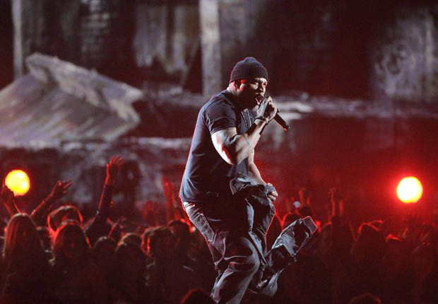 LL Cool J performs on stage at the 55th annual Grammy Awards.