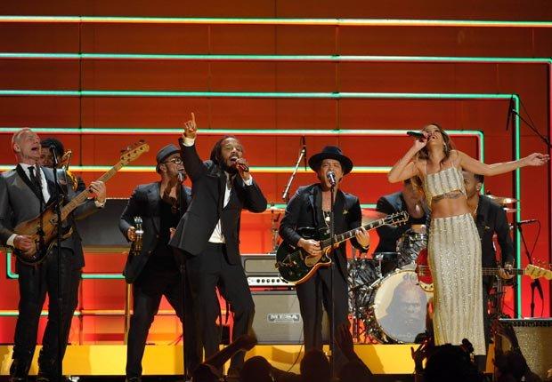 Recording artists Sting, Ziggy Marley, Bruno Mars and Rihanna, Grammy Awards 2013