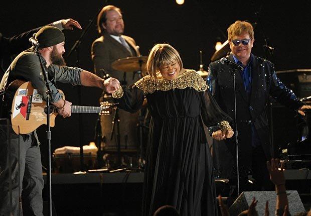 Zac Brown, Mavis Staples and Elton John perform at the 55th annual Grammy Awards.