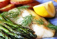 pam anderson recipe roasted fish and veggies, fish with roasted potatoes and asparagus
