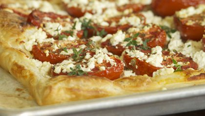 Roasted Tomato and Goat Cheese Tart recipe for Meatless Mondays.