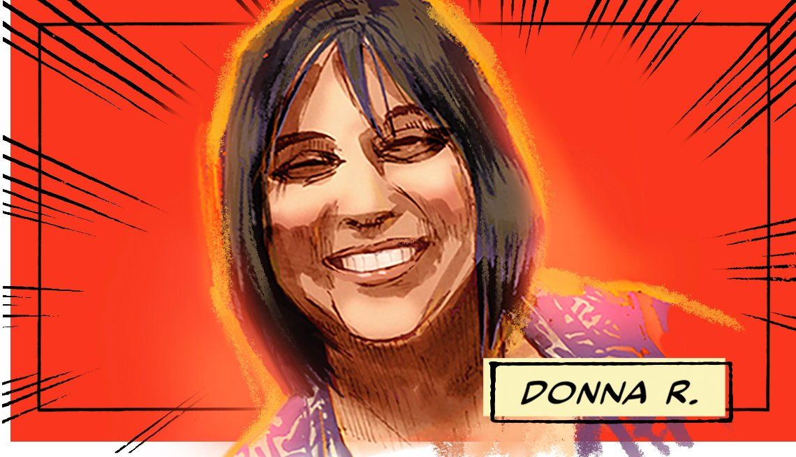 stylized image of Donna R. on a red background
