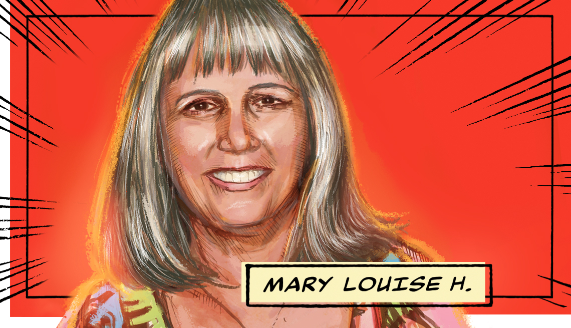 stylized image of Mary Louise H. on a red background