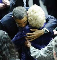 US President Barack Obama greets family members of shooting victims during a memorial event, Together We Thrive: Tucson and America at the McKale Memorial Center in Tucson, Arizona, on January 12, 2011.