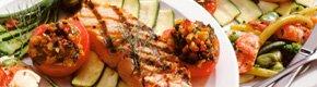 Healthy salmon meal on plate, Brain Health, Eat Healthy