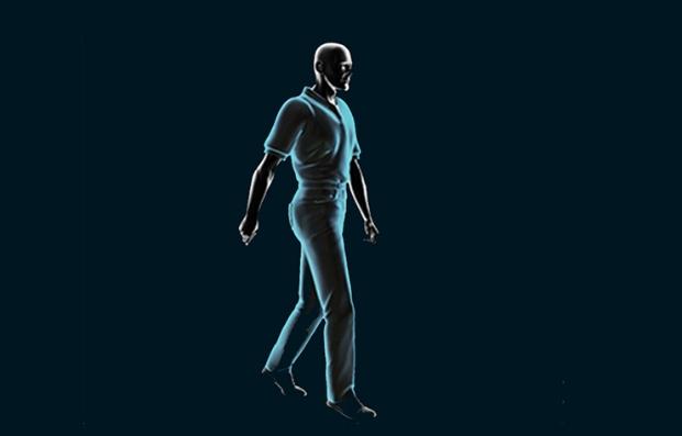 Figura gráfica de un hombre caminando