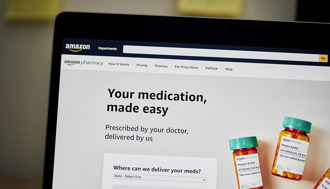 The Amazon Pharmacy home screen on a laptop computer.