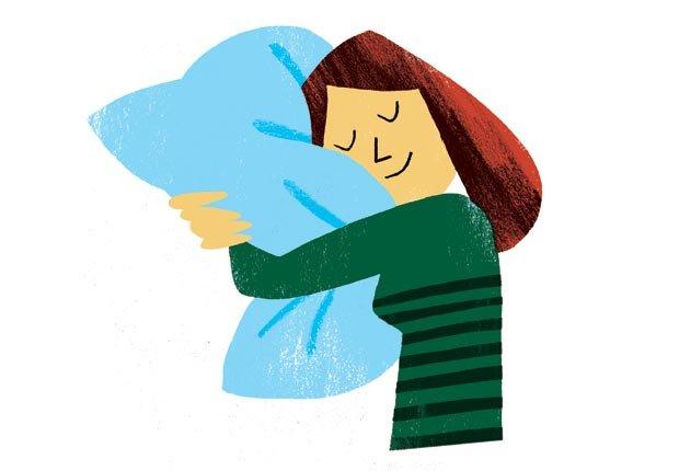 Grafico mujer durmiendo abrazada a su almohada - Cambios para mejorar la salud