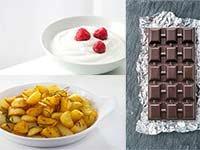 Yogur con frutas, chocolate oscuro y papa en cubos