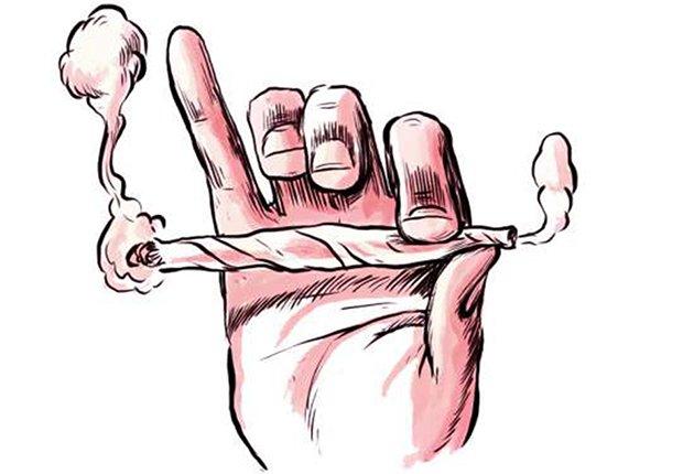 Gráfico de una mano sosteniendo un cigarrillo de marihuana