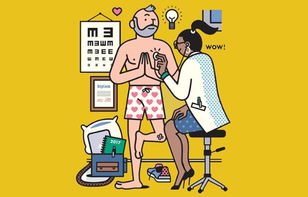 Gráfico de un médico examinando a su paciente