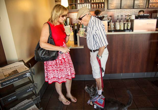 Amy Goyer and her father at Starbucks for a treat., Juggling Work and Caregiving (Beth Perkins Photography)