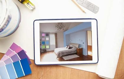 Habitación se ve en una tableta electrónica - Aplicaciones y sitios web para renovar tu casa