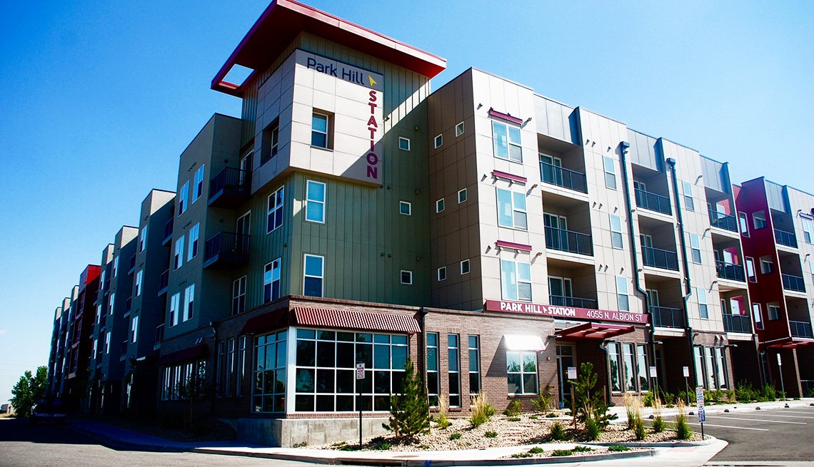 The exterior of the Park Hill Station apartment building in Denver.
