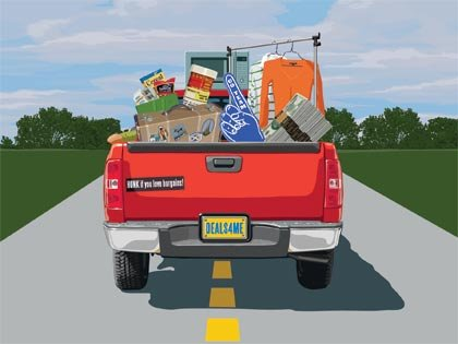 pickup truck full of savings