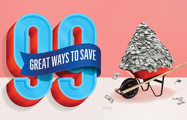 Ilustración de 99 fántasticas formas de ahorrar al lado de una volqueta llena de dólares