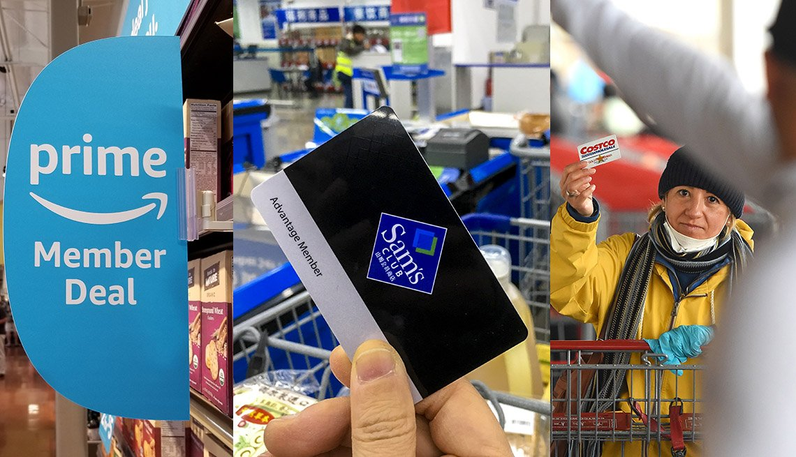 retail shopping clubs represented by a triptych prime member deal sign, hand with sam's club card and shopper with costco card