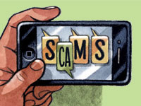 Illustration of hand holding smart phone- Smishing texts are a new way for scam artists to gain personal info