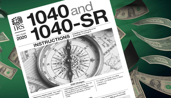 IRS instructions to claim stimulus on 2020 taxes sits on a background of green dollar bills