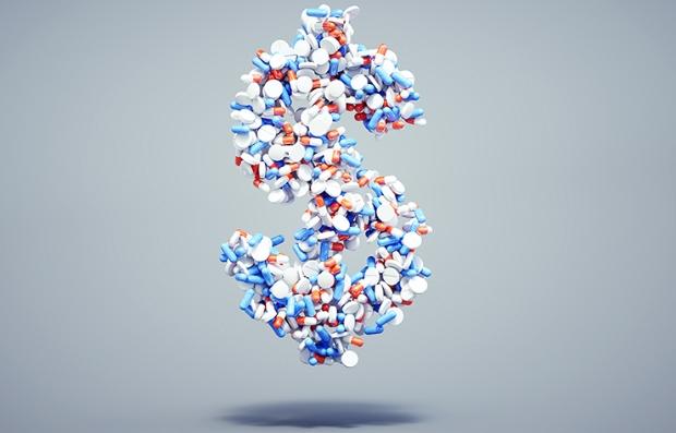 Signo de dolar hecho de pastillas