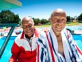 John and Bradford Tatum, 90 and 89 year old swimmers competing for gold at the National Senior Games at Stanford University