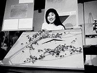 Maya Lin, at 21, with her controversial memorial design.
