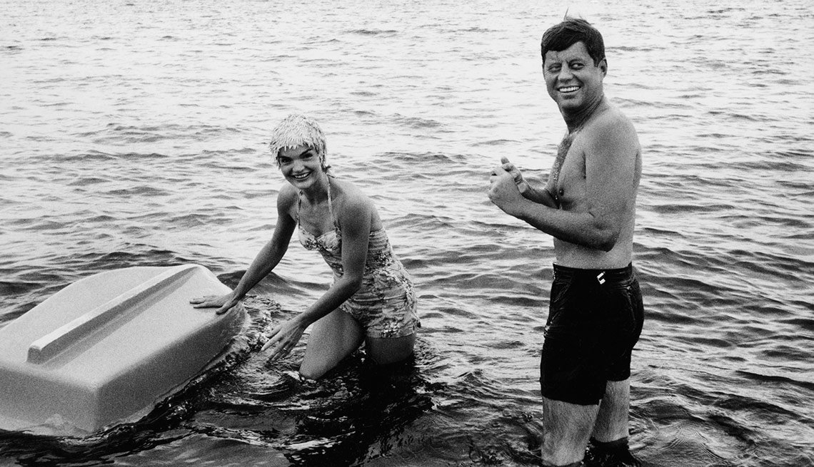 Jack and Jackie in Hyannis Port, Mass., taking a break from the 1960 presidential campaign. JFK loved the water and was a superb swimmer and sailor. His legend as a hero began with bravery at sea on PT-109 during World War II.