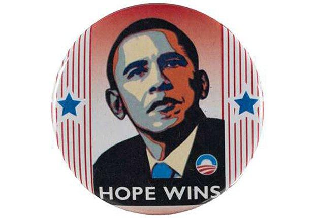 Botón de la campaña presidencial de Barack Obama en el 2008
