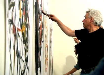 Hugh Delehanty painting on large canvas