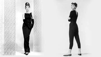 A la izquierda, Audrey Hepburn, 1961 en Breakfast at Tiffany's y a mano derecha, la actriz de origen belga, vestida de negro para la promoción de la película de Billy Wilder