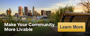 Park bench and city skyline, Livable communities