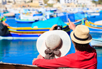 happy loving couple on vacation in Malta