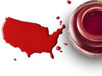 Mapa de Estados Unidos en tinta roja