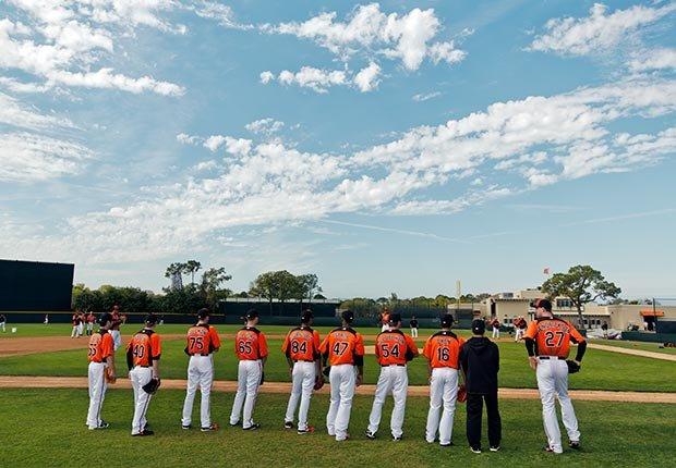Jugadores de los Orioles de Baltimore durante los entrenamientos de primavera de 2013 - Gerentes veteranos de béisbol.