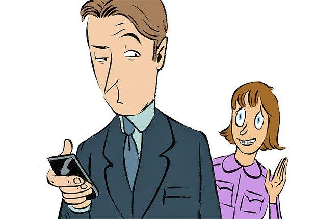 Ilustración hombre con un teléfono y mujer saludando desde lejos  - Errores al buscar trabajo