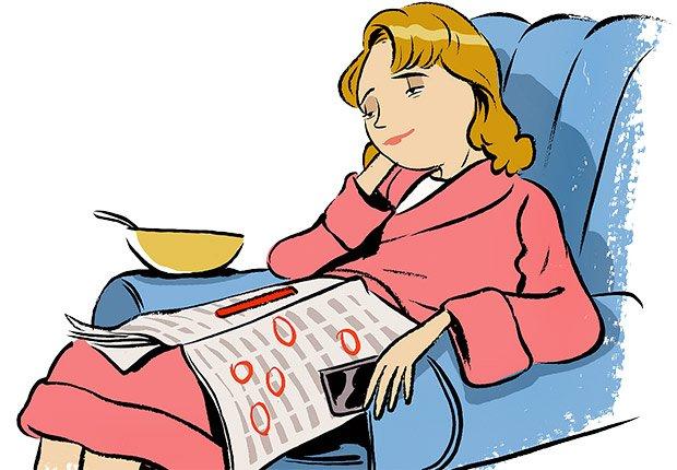 Ilustración mujer descansando en un sofá  - Errores al buscar trabajo