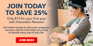 Save 25% when you join AARP and enroll in Automatic Renewal for first year. - Expanded