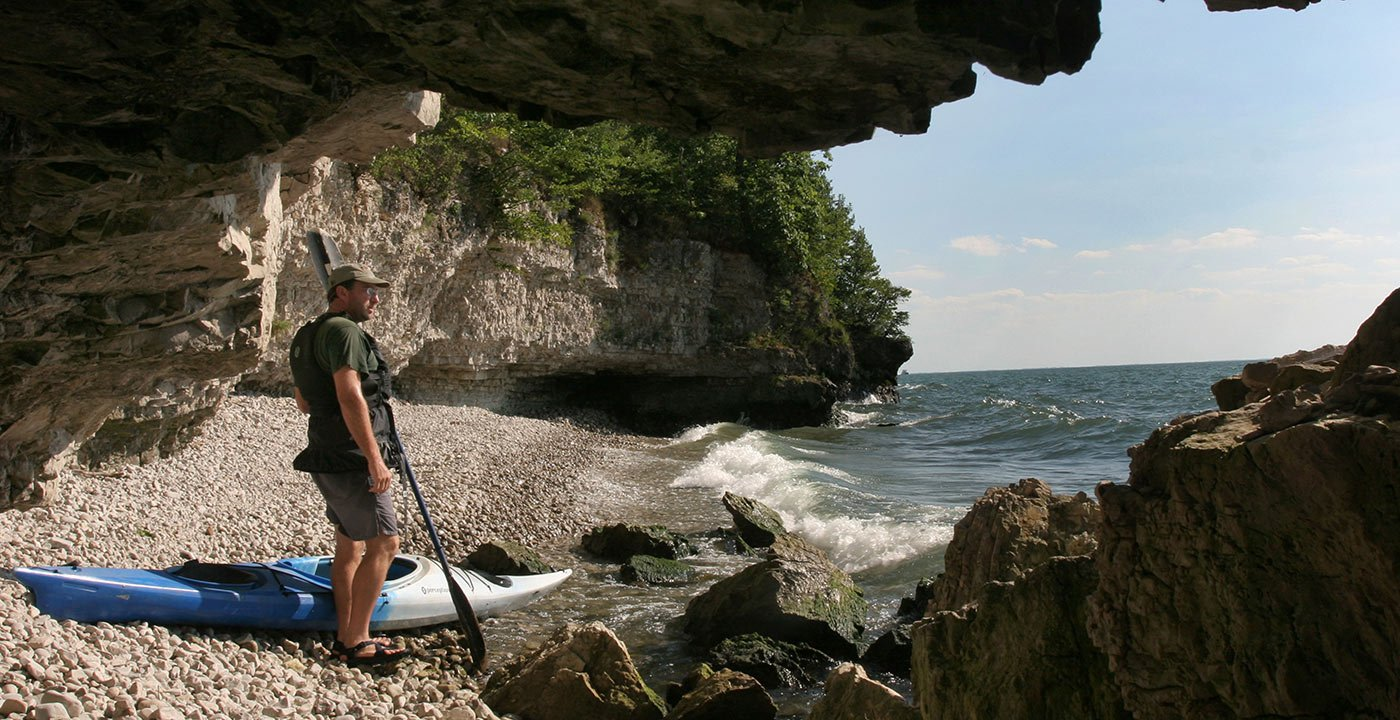 Kayaker observing the view at South Bass Island